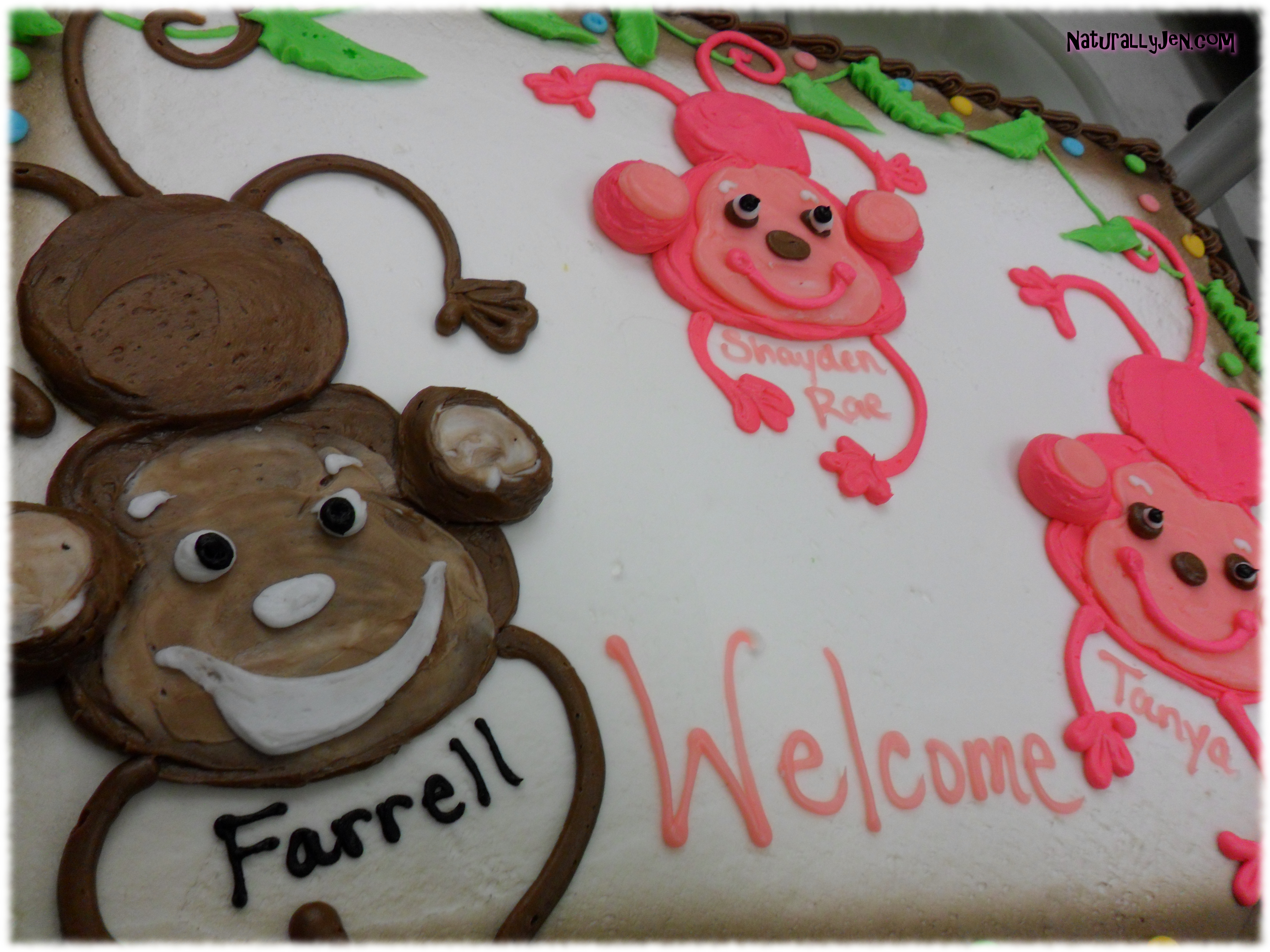 Frosting Monkeys on Welcome Back To Work Cake