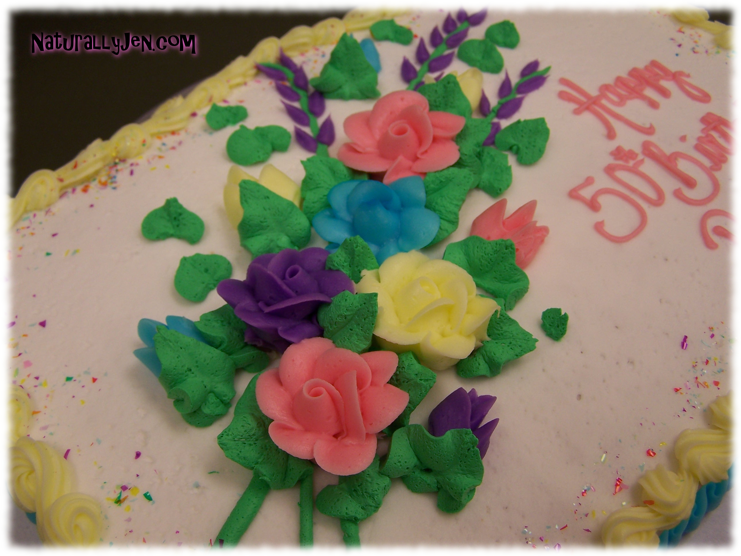 Frosting Flowers on Birthday Cake