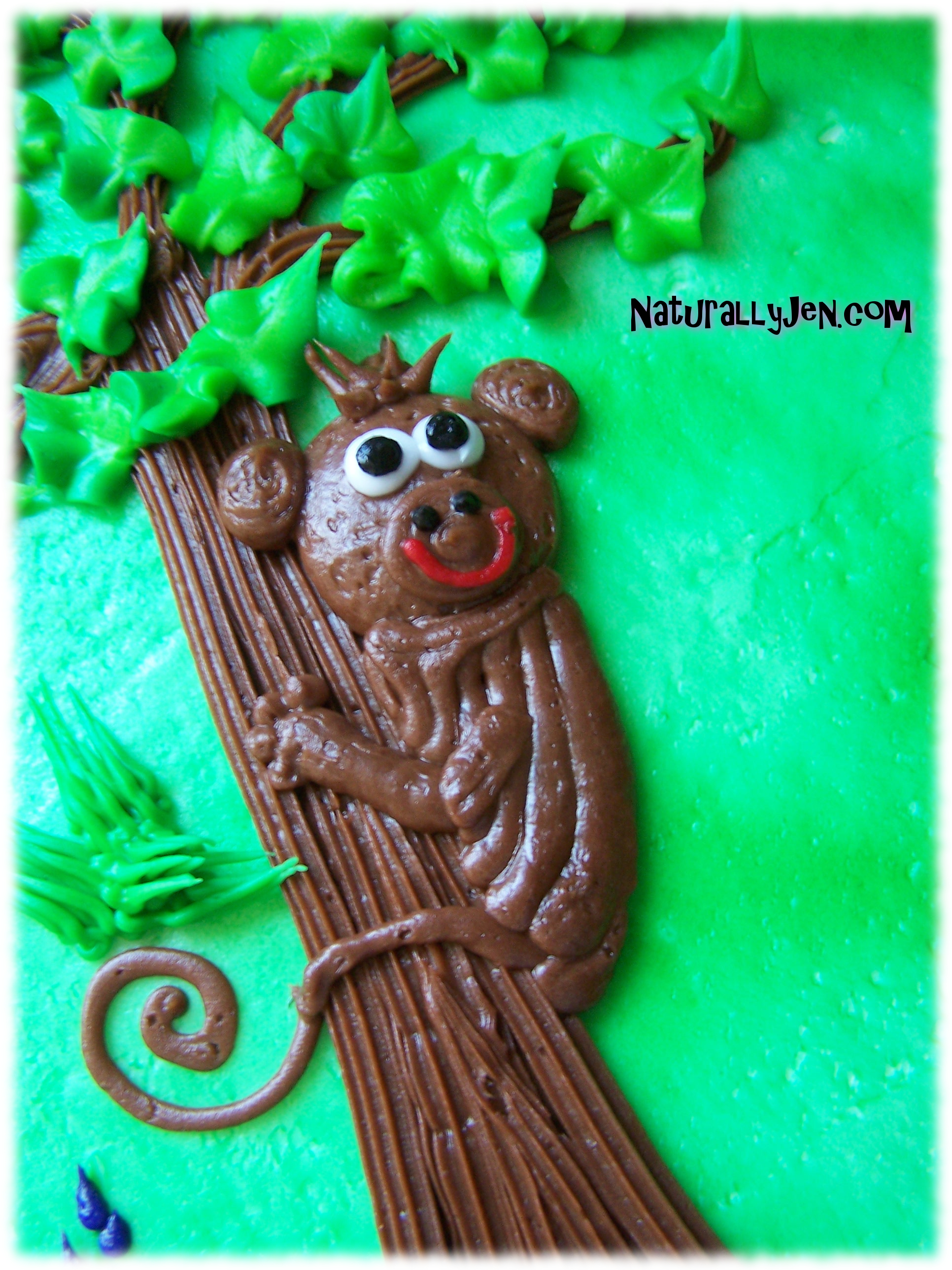 Frosting Monkey on Birthday Cake