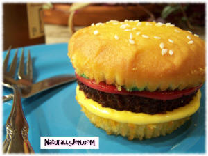 Hand Created Cheeseburger Cupcake Design Idea
