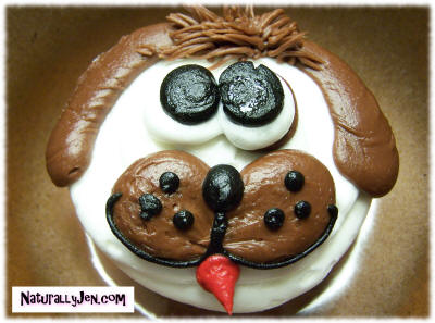 Cute Puppy Dog Cupcake Decorated in Frosting